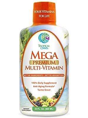 Mega Premium Liquid Multivitamin | Natural Immune Support & Anti-Aging Multi-Vitamin w/20 Vitamins, 70 Minerals, 21 Amino Acids, CoQ10 & PABA | Sugar Free | Orange Flavor | 98% Absorption | 32 Serv