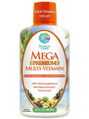 Mega Premium Liquid Multivitamin -Natural Anti Aging Multi-Vitamin W/20 Vitamins, 70 Minerals, 21 Amino Acids, Coq10 &Amp; Organic Aloe Vera- Orange Flavor- Gluten And Sugar Free- 98% Absorption- 32 Serv