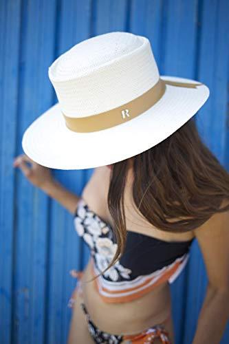 RACEU ATELIER Sombrero Paja de Papel Reciclado Formentera - 100% Papel - Ala 8 cm - Sombrero para el Sol - Sombreros Playa