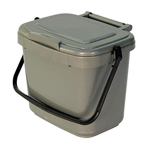 All-Green Küchenkomposteimer mit Kompostieranleitung – Plastik, 5 Liter, Silber-Grau