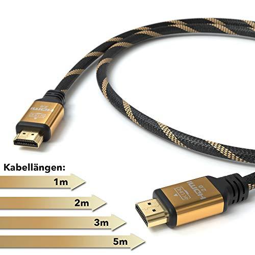 JAMEGA - 3m Ultra HDTV 4K Premium HDMI Kabel 2.0b | Highspeed mit Ethernet 4K HDR ARC CEC 3D 2160p U-HD | HDMI 2.0b 2.0a 2.0 1.4a | 4 Fach geschirmt | 24K Vergoldet