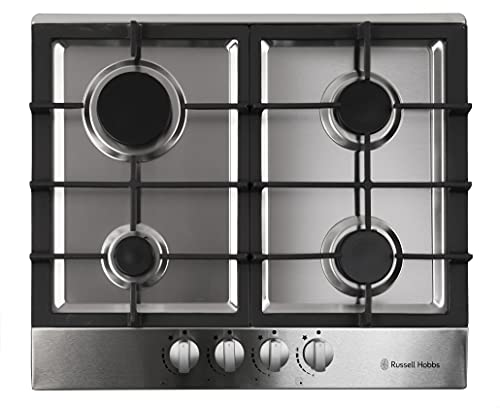 Russell Hobbs RH60GH402SS Stainless Steel 59cm Wide, 4 Burner Gas Hob, Free 2 Year Guarantee