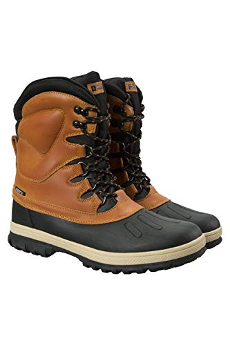 Mountain Warehouse Arctic Mens Winter Snow Boots - Warm Duck Shoes Brown 11 M US Men