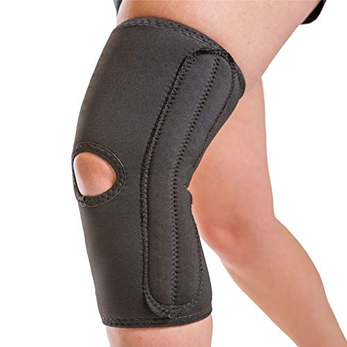 BraceAbility Knee Compression Sleeve for Women - Ladies Open Patella Brace and Kneecap Stabilizer with Support Stays for Running, Female Arthritis Pain, Meniscus Tears and ACL injury (XL)