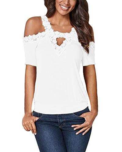 CNFIO - Camisetas de manga larga y corta para mujer, estilo casual, con hombros al aire, para verano, con encaje de ganchillo B-blanco XL