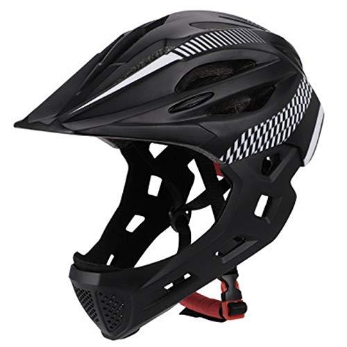 IAMZHL Unisex Balance Abnehmbarer Fahrradhelm mit Rücklicht MTB Mountainbike Fahrradhelm im Freien Schutzkinn-Black White