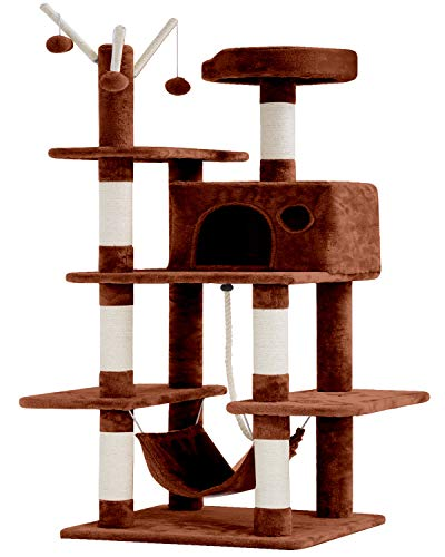 BestPet Cat Tree Tower Condo Playground Cage Kitten Multi-Level 56 inches Activity Center Play House Medium Scratching Post Furniture Plush Perches with Hammock,Brown