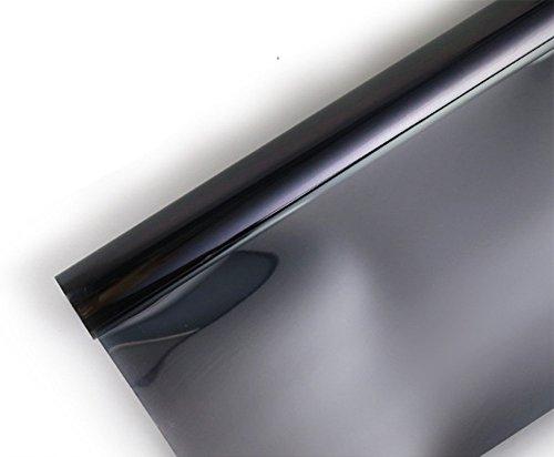 Ommda Fensterfolie Statisch Haftend Sonnenschutz Fensterfolie Blickdicht Von Aussen 97% UV-Schutz Schwarz 50x100cm