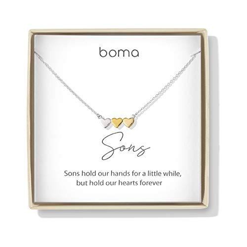 Boma Jewelry Sentiments Collection Sons Sterling Silver Three Hearts with 14kt Rose and Yellow Gold Vermeil Necklace 18 Inches