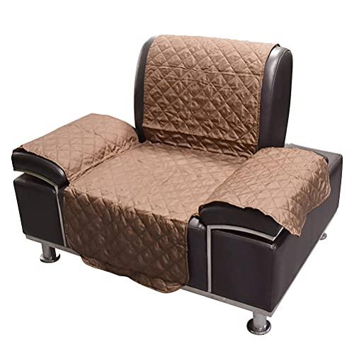 YOTINO 1X Fundas de sofá Impermeables con Correas elásticas de Espuma Antideslizante para el salón, protección para Perros contra Mascotas, derrames Marrón