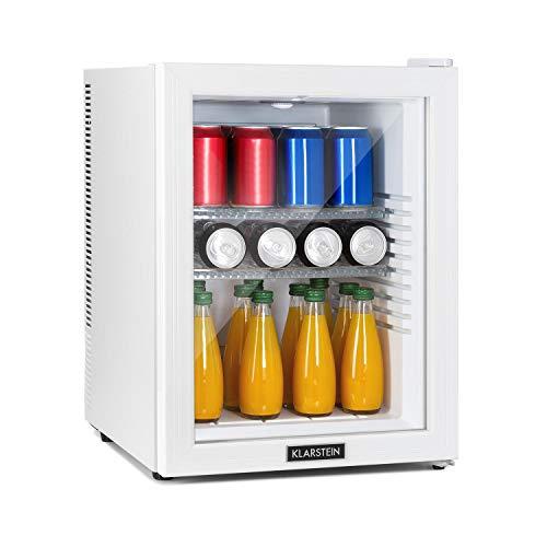 KLARSTEIN Brooklyn - Minibar, Mini Frigo, Sistema di Raffreddamento Termoelettrico in 3 Livelli: fino a 12 °C, EcoExcellence System: Classe Energetica F, Silenziosissimo: 0 dB, 42 Litri, Bianco