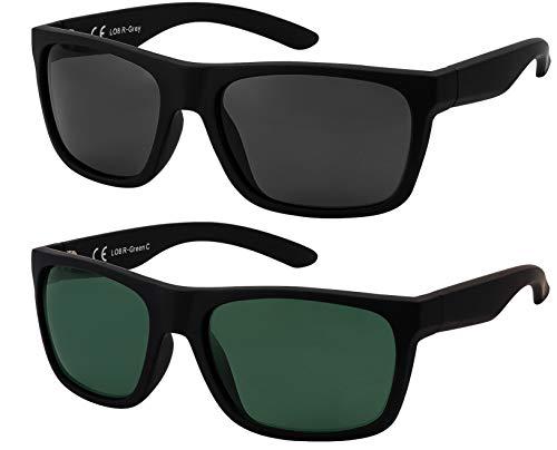 La Optica B.L.M. Herren Sonnenbrille UV400 Männer Sportbrille Fahrradbrille - Doppelpack Set Gummiert Schwarz (Gläser: 1 x Grau, 1 x Grün Klassisch)