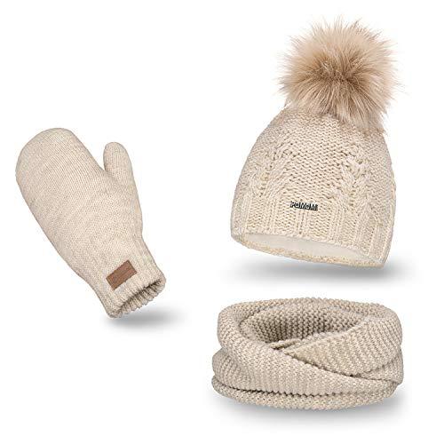 PaMaMi Damen 3 -teiliges Set Mütze mit einem Bommel | Beige | 85% Acryl und 15% Polyamid | Loop-Schal und Fäustlinge Moderne Strickoptik | Stylisches Design