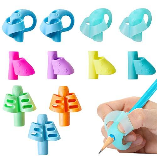 11pcs Guide Doigt Enfant en Silicone Ergonomiques Grips pour Crayon Stylo Pencil Grip Posture Correction Aide Ecriture 3 Modèles