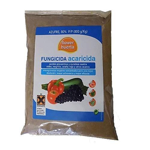 FLOWER HUERTA Fungicida acaricida 500g acción preventiva curativa contra Oidio, Negrilla, Araña roja y Otros ácaros