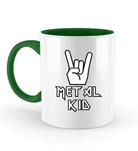 PlimPlom Metal Kid Kaffeetasse Heavy Metal Kinder Tasse Für Kaffee Tee Kakao - Geschenk Idee - Zweifarbige Tasse -330ml-Irish Green