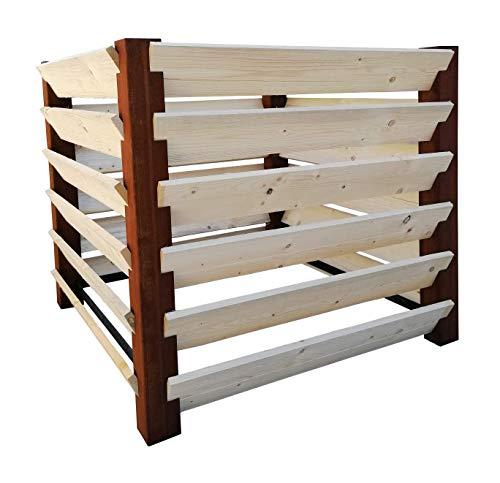 MENOVUS - Compostiera con design ruggine, 1530 litri, struttura robusta in acciaio e legno