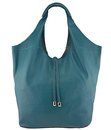 Freyday Echtleder Shopper mit Schmucktasche in vielen Farben Schultertasche Damen Henkeltasche (Petrol)