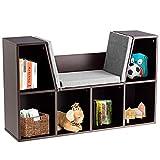 DREAMADE Bücherregal mit Sitzkissen, Bücherschrank Holz, Standregal mit 2 Ebene und Abnehmbarem Kissenbezug, Raumteiler Büroregal für Wohnzimmer Schlafzimmer (Braun)