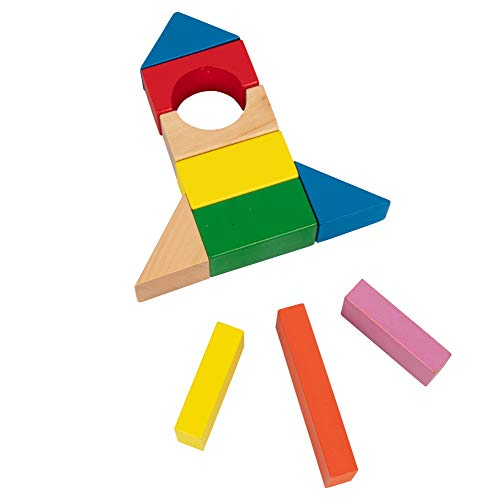 Right Track Toys Wooden Blocks - 100 Pc Wood Building Block Set with Container (Rainbow Colored) - 100% Real Wood in 7 Colors and 14 Shapes - Great Gift or Back to School Project