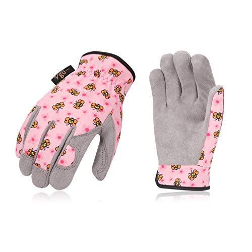 Vgo Kinder 2-4 J.A, Kinderarbeits- und Gartenhandschuhe, weiche Mikrofaserhandfläche, Handrücken aus Flex, atmungsaktiv (1 Paar, Kid-XS, Rosa, KID-MF7362)