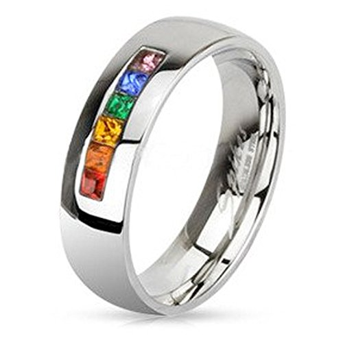Rainbow String Smooth Round Top Ring - Gay & Lesbian Pride Stainless Steel (Wedding Marriage or Engagement Band w/CZ Stones). LGBT Pride (7)