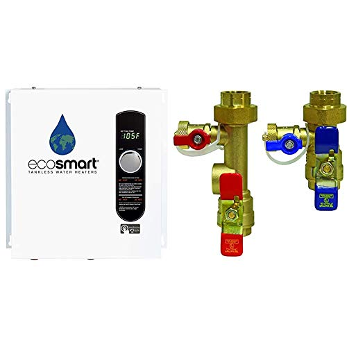 EcoSmart ECO 27 Electric Tankless Water Heater, 27 KW at 240 Volts, 112.5 Amps with Patented Self Modulating Technology,White & Watts Tankless Water Heater Service Valve Kit