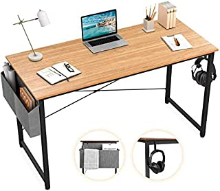 "Sengo Computer Desk Home Office Desk, Black Desk Laptop Desk Sturdy Work Table PC Table, Home Desk Workstation, with Storage Space Strong Legs (40"", Wood)"