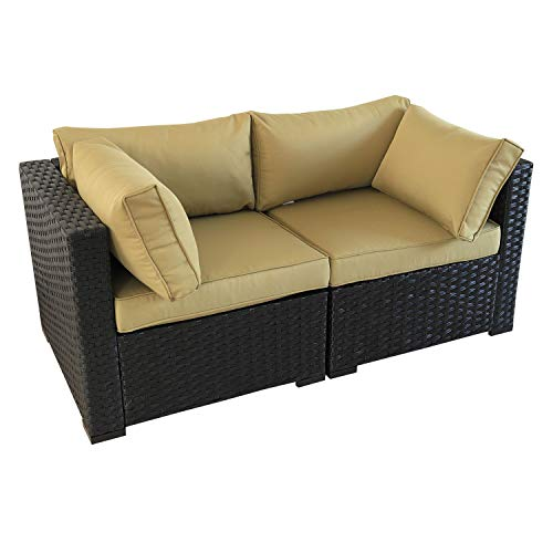 VALITA Patio PE Wicker Furniture Set 2 Pieces Outdoor Black Rattan Corner Chair Armchair Sectional Conversation Sofa with Olive Green Cushions