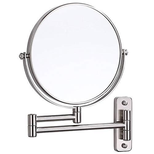 Kingrol 20,3 cm Wandmontierter Make-up-Spiegel mit Schwenkarm, 5-fache Vergrößerungsspiegel für Badezimmer, Schlafzimmer, Ankleidezimmer, doppelseitig, 360 Grad drehbar