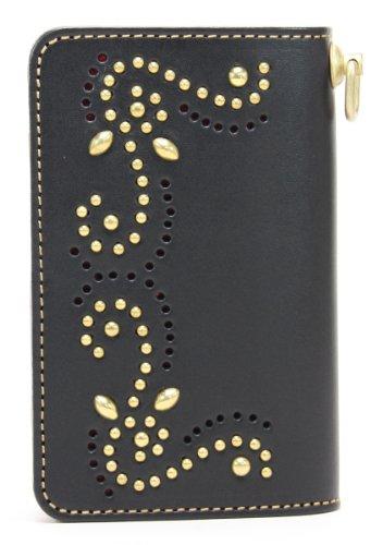 KC, s Leather Craft–Latón BillFold largo brogueing Tachuelas Color Negro fabricado en Japón