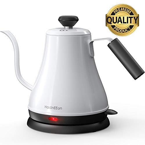 HadinEEon Electric Gooseneck Kettle 100% Stainless Steel BPA-Free Tea Kettle, Electric Pour Over Coffee Kettle Pot Portable Cordless Teapot with Auto Shut-Off Protection, 1000 Watt, 0.8L