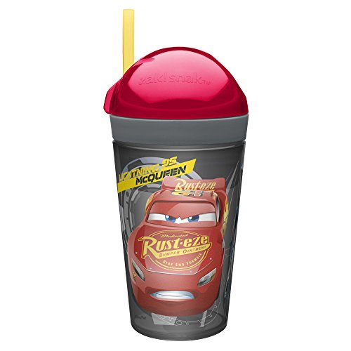 Zak Designs Cars 3 ZakSnak All-In-One Drink Tumbler + Snack Container For Toddlers – Spill-proof 4oz Snack Container Screws Securely Onto 10oz Tumbler With Accessible Straw, Cars 3