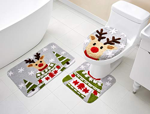 VCNY Home | Holiday Collection Ultra Plush Reindeer Christmas Bath Décor Rug and Toilet Lid Cover Set with Non-Slip Backing-Optimal Absorbency for Bathroom, 3 Pieces, Red