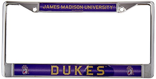 NCAA Rico Industries Bling Chrome License Plate Frame with Glitter Accent, James Madison Dukes, 6 x 12.25-inches