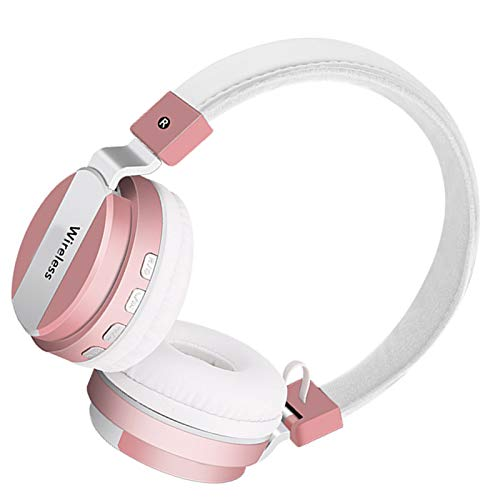 Wsaman Cascos Inalambricos Bluetooth 5.0 Auriculares, Auriculares De Estudio con Cancelación de Ruido, para Correr, Auriculares Inalámbricos de Diadema,Rosado