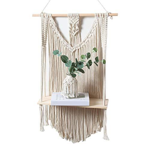 ishine Macrame - Estante para colgar en la pared, diseño de cuerda natural con estantes de madera dobles para plantas, estantería flotante/decoración del hogar