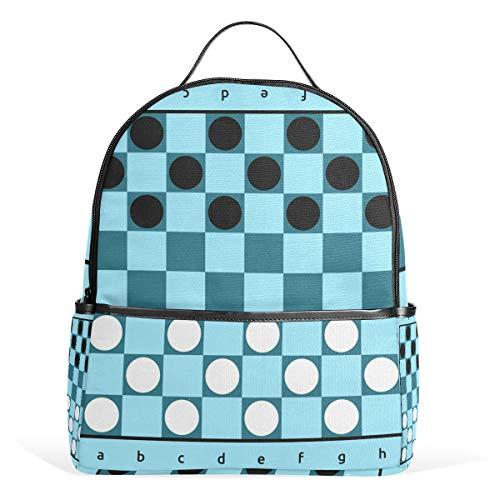 TIZORAX Checkers Game Blue Board Laptop Backpack Casual Shoulder Daypack for Student School Bag Handbag - Lightweight