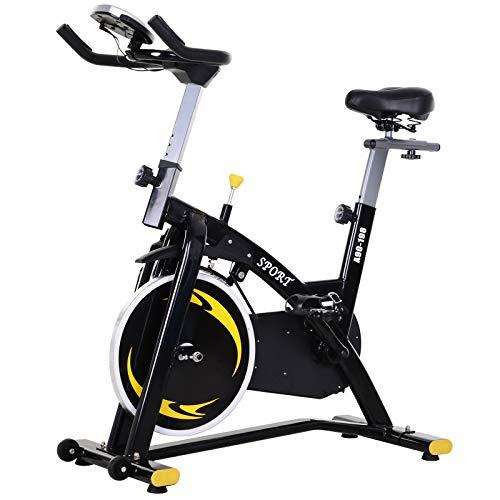 homcom Spinning Cyclette, Spin Bike Regolabile con Schermo LCD e Volano 10kg per Casa o Palestra, Nera e Gialla