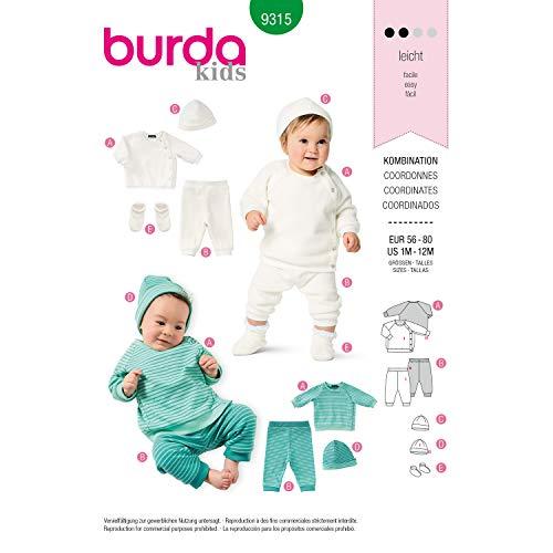 Burda Schnittmuster 9315, Erstlingsset [Baby 56-80] zum selber nähen, ideal für Anfänger [L2]