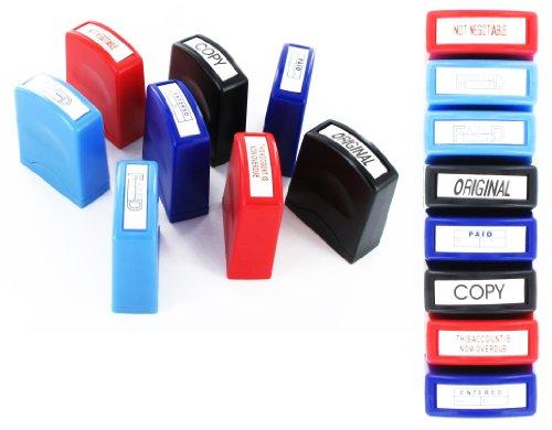 Paquete con 8 Autoentintador Oficina SELLOS ESTAMPADO - Pagado/PUBLICADA/ORIGINAL/ COPIA / faxed /ENTERED/Overdue