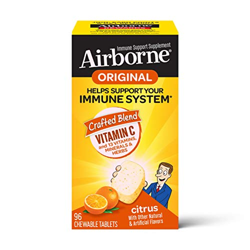 Vitamin C 1000mg (per serving) - Airborne Citrus Chewable Tablets (96 count in a box), Gluten-Free Immune Support Supplement With Vitamins A C E, ZINC, Selenium, Echinacea, Ginger, Antioxidants