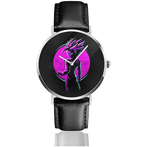 Dragon Ball Z Retro Gohan Ink Watches Reloj de Cuero de Cuarzo con Correa de Cuero Negra para Regalo de colección