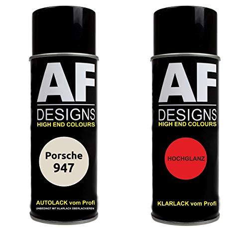 Autolack Spraydose Set für Porsche 947 Perlmutt Metallic Basislack Klarlack Sprühdose 400ml