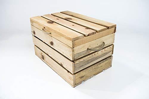 Baúl de Madera Natural Sam, Beige, Asas Cuerda,Baúl Almacenamiento, 49x32x30cm. Incluye Imán Personalizable de Regalo.