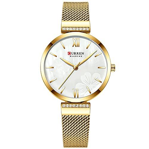 SXLONG Reloj De Pulsera De Aleación De Banda De Malla De Pantalla Analógica De Esfera Analógica De Cuarzo Impermeable para Mujer-Gold Shell White