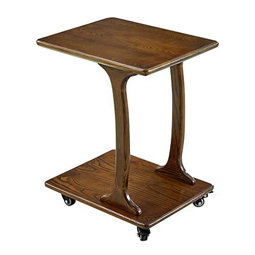 Tables basses Côté Mobile Salon canapé Bureau lit à roulettes écrit la Table Solide Table d'appoint en Bois (Color : Brown, Size : 58 * 38 * 66cm)