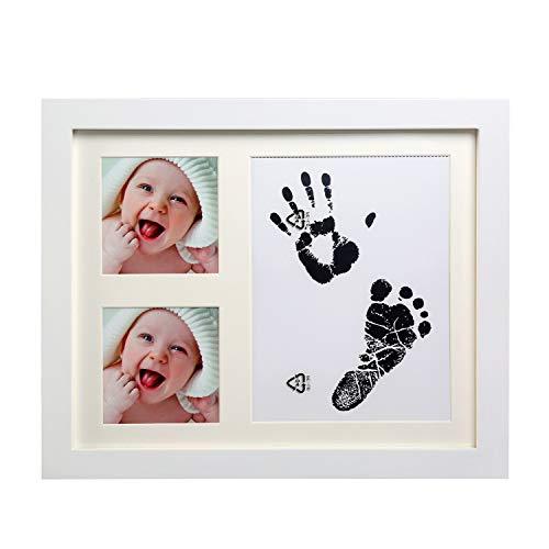 LinStyle Kit de Marco para Huella de Pie y Manos del Bebe, Recuerdo de Las Huellas de Mano y Pie, Regalos Originales Bebes 1 Año, Regalo de Baby Shower