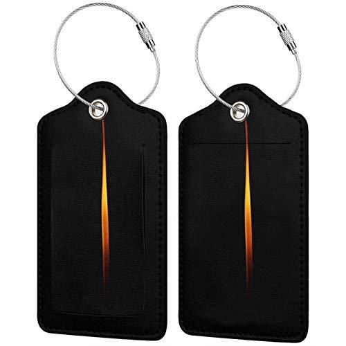 FULIYA Juego de 2 etiquetas de equipaje seguras de alta gama de cuero para maletas, tarjetas de visita o bolsa de identificación de viaje, fuego, llama, vela, oscuro, minimalismo