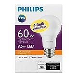 Philips New 60-Watt Equivalent A19 LED Light Bulb Soft White - 2700K – (Pack of 4).